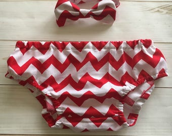 Baby Boy Red and White  Chevron Diaper Cover and Bowtie Set, Birthday SmashCake Outfit , Red and white Boy