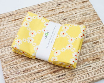 Large Cloth Napkins - Set of 4 - (N2960) - Jemma Floral Yellow Modern Reusable Fabric Napkins