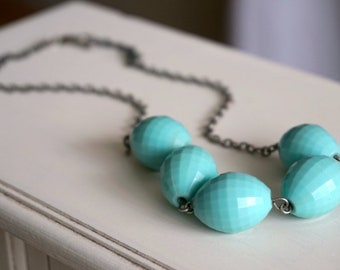Handmade Vintage Turquoise Bead Necklace, Turquoise Necklace Gift for Mom Gift for Her Gift for Girlfriend Summer Necklace Aqua Necklace