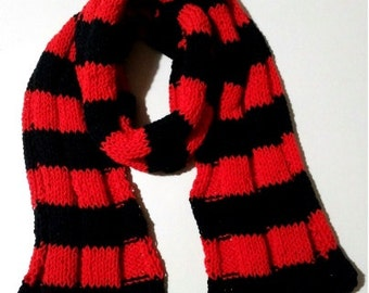 Red and Black wool scarf handmade, hot