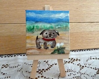 English Bull dog painting, Dog painting, Cute Bull dog, Office art, Mini painting with easel, Whimsical dog,