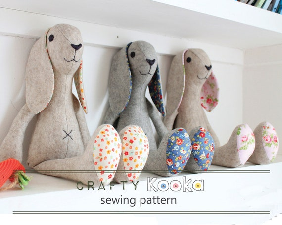 Felt animal patterns for instant download, bunny rabbit felt pdf ...