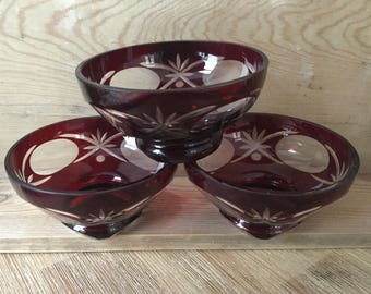 Cranberry Glass Trinket Dish, Ruby Red Cut to Clear Glass Bowl, Red Glass Bowl, Country Cottage, Present for Mom, Mothers Day Gift