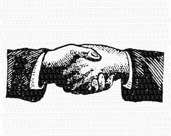 Handshake Antique Clip Art Illustration Vintage Graphics SALE 2079