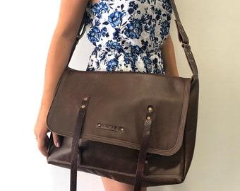 Extra large, dark brown, leather messenger bag