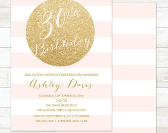 30th Birthday Party Invitation Gold Milestone Pink And White Stripes