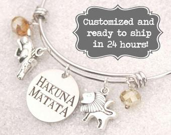 Lion King Engraved -  Hakuna Matata Bracelet DISNEY Inspired, Lion and Warthog Bracelet, Custom Name Charm Bracelet, Adjustable Bangle