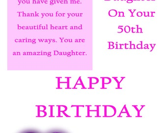 Daughter 50 Birthday Card with removable laminate