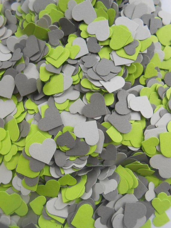 Over 2000 Mini Confetti Hearts. GREEN & GREY Mix. Wedding, Party Decorations. Choose Your Colors. Gray