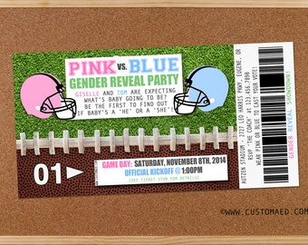 FOOTBALL Gender Reveal Baby Shower Invitations, Pink or Blue, Ticket Style Sports Party Invitation, DIY Printable or Prints,Baby Boy Invite