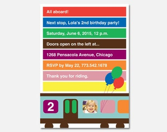 Chicago CTA Train Birthday Party Invitation, Train Birthday Party, Custom Invitation, Printable Invitation, Flying Pinwheel
