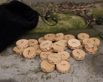 Wooden Elder Futhark Rune Set with velvet pouch