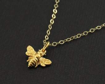 Solid Gold and Sterling Silver Bee Necklace tiny honeybee
