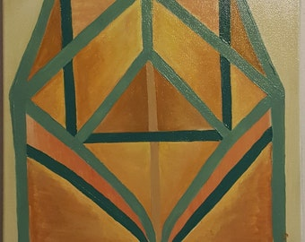 Structures - earthy abstract figurative acrylic painting on canvas