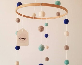 Felt Ball Mobiles, Cot Mobile, Nursery Accessory, Handmade, Gender Specific, Blue Combination