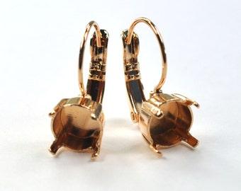 39ss Earring Setting Leaver Back Drop 8mm Rose Gold Plating for Swarovski 1088 1 Pair