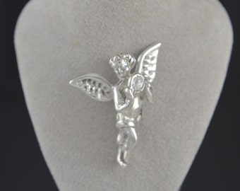 Angel Pendant / Guardian Angel CZ Birth stone Sterling Silver .925