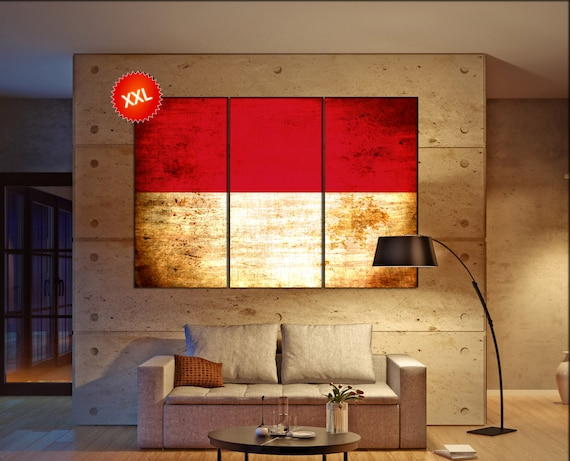 Monaco flag canvas wall art art print large  canvas wall art print Monaco flag country flag Wall Home office decor interior Office Decor