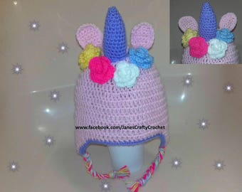 Crochet Unicorn Hat - Unicorn Photography Prop, Fantasy,  (Baby,Toddler,Child,Teenager or Adult)