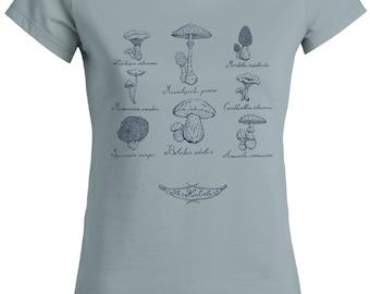 Mycology T-shirt, Original T-shirt, Mushroom T-shirt, Women's T-shirts with original print, Silk-screen printing, Les Houbeles