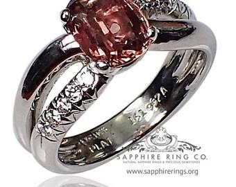 Platinum Sapphire & Diamond Ring, 2.35 ct Cognac Fancy Oval Cut Ceylon Sapphire - 3080