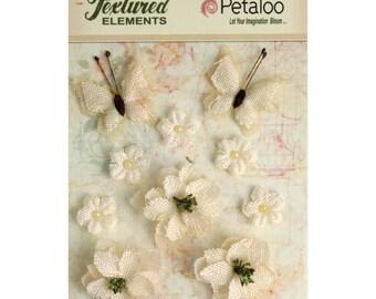 Burlap Flowers & Butterflies, Petaloo Textured Elements,10-Pack, Ivory