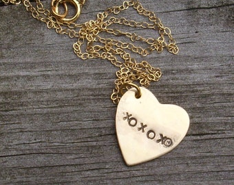 xoxoxo Valentine Heart Necklace in Gold filled