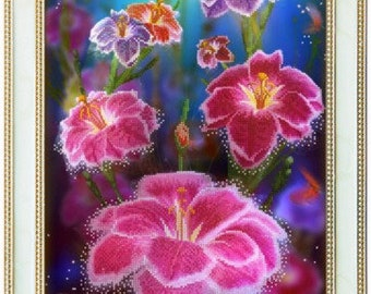DIY bead embroidery kit Star flowers 30x45cm Needlepoint kit Beaded picture Beaded flowers Pink flowers