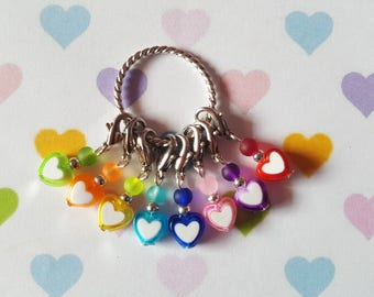 8pcs Heart stitch markers, Beaded stitch markers, Knitting stitch markers, Crochet stitch markers, Stitch markers, Hearts, Knitting, Crochet