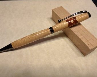 Handmade Reclaimed Maple Wood Ballpoint Pen with Celtic Knot