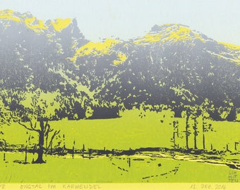 Engtal in the Karwendel mountains, Alps, Austria: handmade linoprint, multi coloured, numbered and signed
