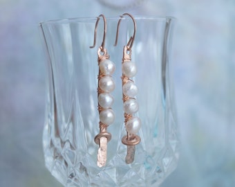 Hammered Copper wire wrapped with white freshwater pearls
