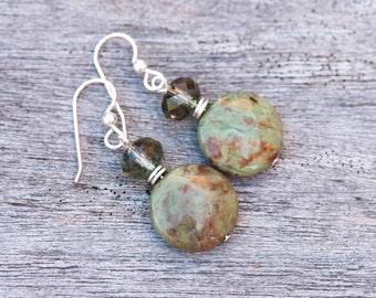 Green Opal Earrings, Opal and Green Quartz Earrings, Rustic Green Earrings, Natural Stone Earrings, Sterling Silver, Fall Color Earrings