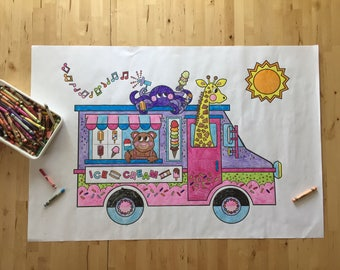 Ice cream truck coloring poster