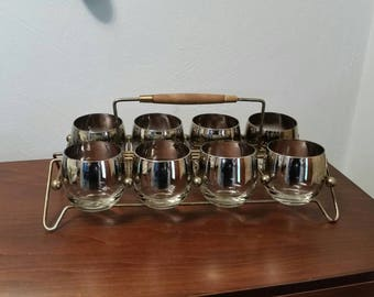 Eight Silver Ombre Roly Poly Glasses with Caddy - 10 Ounces