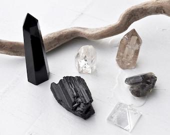 Crystal Set//  Obsidian Obelisk + Raw Black Tourmaline + Clear Quartz Crystal Point + Clear Quartz Crystal Pyramid + Smokey & Ghost Quartz