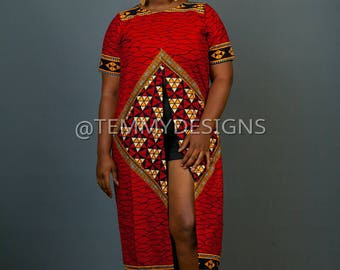 Red African kimono, Ankara dress, Ankara fabric, African print , African print, African clothing for women, women clothing, African dress