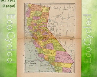 Vintage Atlas Map 1920 California Antique Map full color Inches World Atlas Map Paper Ephemera Historical Geography Approx 10 x 14.5 WR216