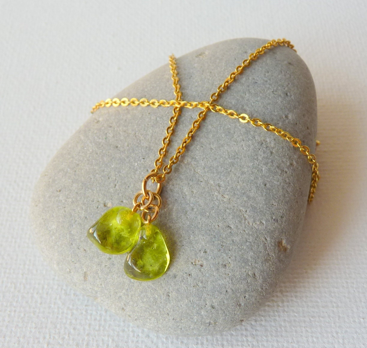 Green Tourmaline Gold Chain Neckllace Wire Wrapped T Gold Tone