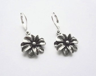 Dahlia dangle  earrings ,antique silver , **FREE SHIPPING**Usually Ships the Same Day **