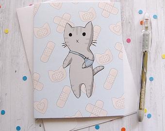 Get Well Card Cat Card Splint Arm Cat Boo Boo Kitty Injury Well Wishes Get Well Soon Greeting Card Cute Cat Card Sick Child Illness
