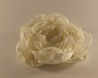 Hand made cream and white flower broach or hair accessory with clip   and pin