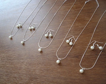 10 Single pearl bridesmaid jewelry gift sets - Set of 10 pearl necklace and earrings