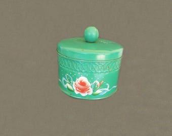 Vintage Powder Box, Dresser Box, Vanity Decor, Home Decor, Vanity Box, Green Decor, Shabby Decor, Floral Decor, Decorative Metal Box