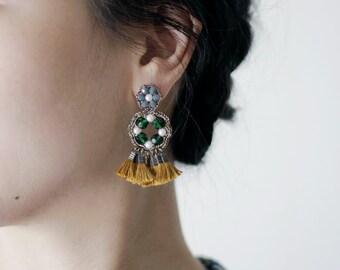 STATEMENT EARRINGS / tassel earrings / drop earrings / hypoallergenic earrings / beaded jewelry / handmade jewelry / wishpiece