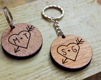Personalised Wooden Keyring, Birthday Gift, Unique Gift Idea, Wooden Etched, Laser Engraved, Couples Gift, Couples Present