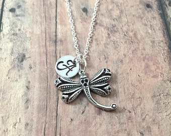 Dragonfly initial necklace - dragonfly jewelry, insect necklace, spring jewelry, silver dragonfly pendant, insect jewelry, gardener jewelry