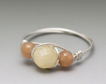Yellow Calcite Faceted & Peach Aventurine Sterling Silver Wire Wrapped Bead Ring - Made to Order, Ships Fast!