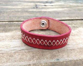 Leather Hand-Stiched Bracelet