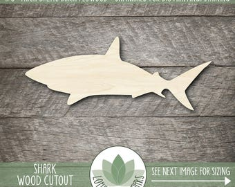 Wood Shark Shape, Unfinished Wood Shark Laser Cut Shape, DIY Craft Supply, Many Size Options, Blank Wood Shapes